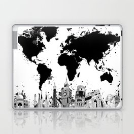 world map city skyline 4 Laptop & iPad Skin