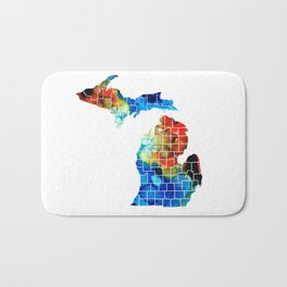 Michigan State Map - Counties by Sharon Cummings Bath Mat