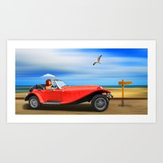 Pin-Up Girl on the road to the beach Art Print