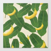 banana leaf Canvas Prints featuring banana by aisyrahma