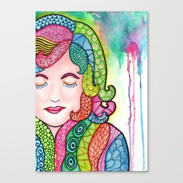 Watercolor Doodle Art | Groovy Girl Canvas Print