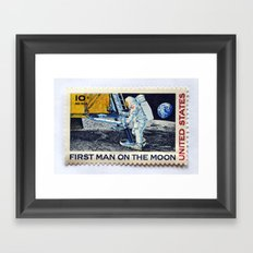 FIRST MAN ON THE MOON Framed Art Print