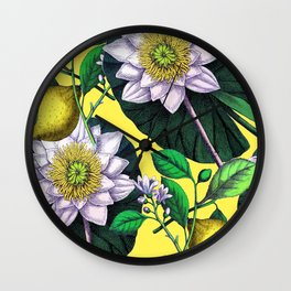 Vintage Lotus + Lemons Wall Clock