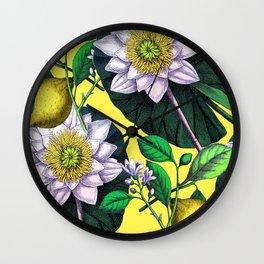 Vintage Lotus + Lemons Wall Clock