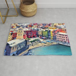 Italy Liguria Cinque Terre Seaside Colorful Houses Rug