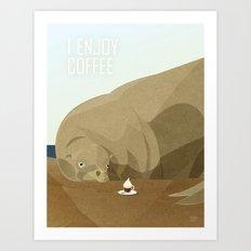 Sea Lion Enjoys Coffee Art Print