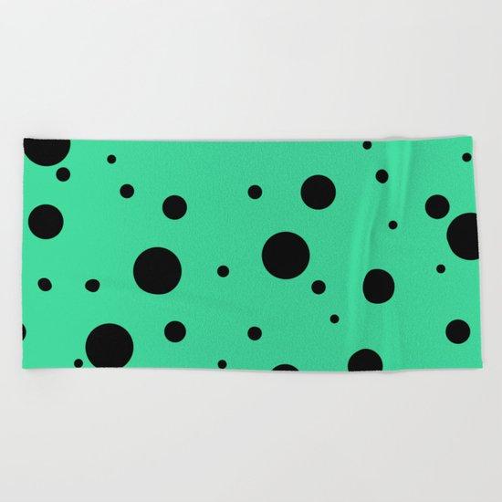 Black Bubbles On Green Beach Towel