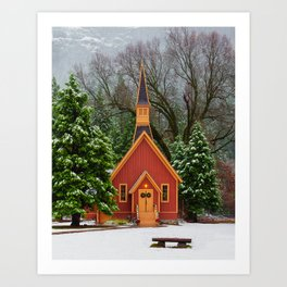 Christmas At Yosemite Chapel Art Print