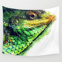 chameleon Wall Tapestries featuring chameleon by jbjart