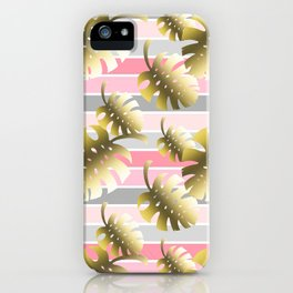 Tropical gold cheese leaves pastel color stripes iPhone Case