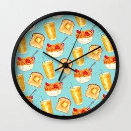 Breakfast Pattern - Blue Wall Clock
