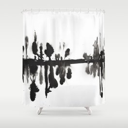 Foggy Morning at the forest abstract ink painting Shower Curtain