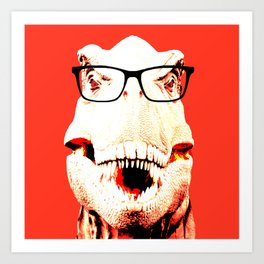 Geek T-Rex with Glasses in Red Background Art Print