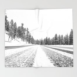 Snow Road // Snowy Winter Wonderland Black and White Landscape Photography Ski Poster Throw Blanket