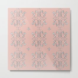 Bees and flowers pattern pink Metal Print