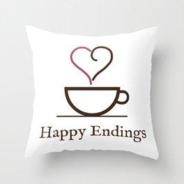Happy Endings Podcast Logo Throw Pillow