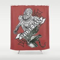 venom Shower Curtains featuring Spider-Man / Venom by tshirtsz