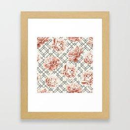 Simply Mod Diamond Roses in Cream and Black Framed Art Print