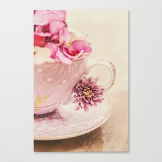 Flower storm in a teacup Canvas Print