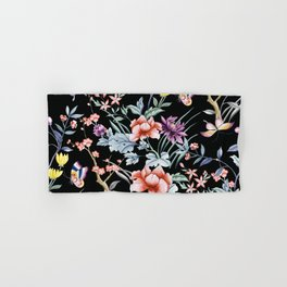 French Butterfly Black Hand & Bath Towel