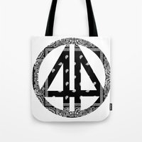 bands Tote Bags featuring Floral bands by ART ON CLOTH