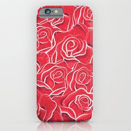 Roses hand drawn vintage illustration pattern  iPhone Case
