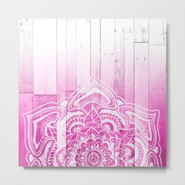 Pink ombre floral mandala henna style wood Metal Print