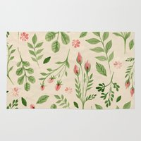 vintage flowers Area & Throw Rugs featuring Vintage Flowers by Blue Daydreamer