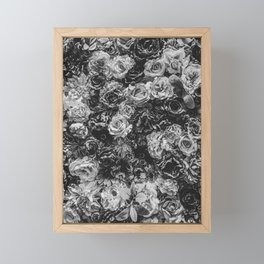 Flower Wall // Black and White Flat Floral Accent Background Jaw Dropping Decoration Framed Mini Art Print