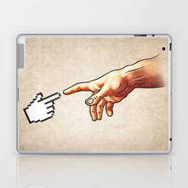 Funny 8bit Nerd & Geek Humor (Creation of Adam Parody) Laptop & iPad Skin