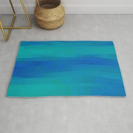 Teal Blue Ocean Currents Rug