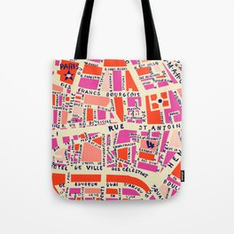 paris map pink Tote Bag