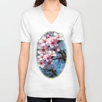 cherry blossoms V-neck T-shirts featuring Cherry Blossoms by Just Kidding