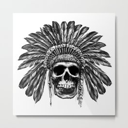 Indian Skull Headdress 2 Metal Print