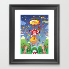 Santa has a Zeppelin to Deliver Christmas Gifts Framed Art Print