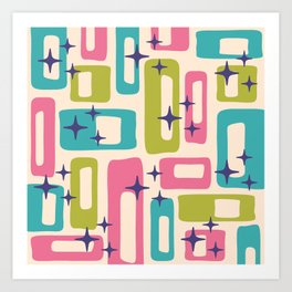 Retro Mid Century Modern Abstract Pattern 927 Pink Chartreuse Turquoise Art Print