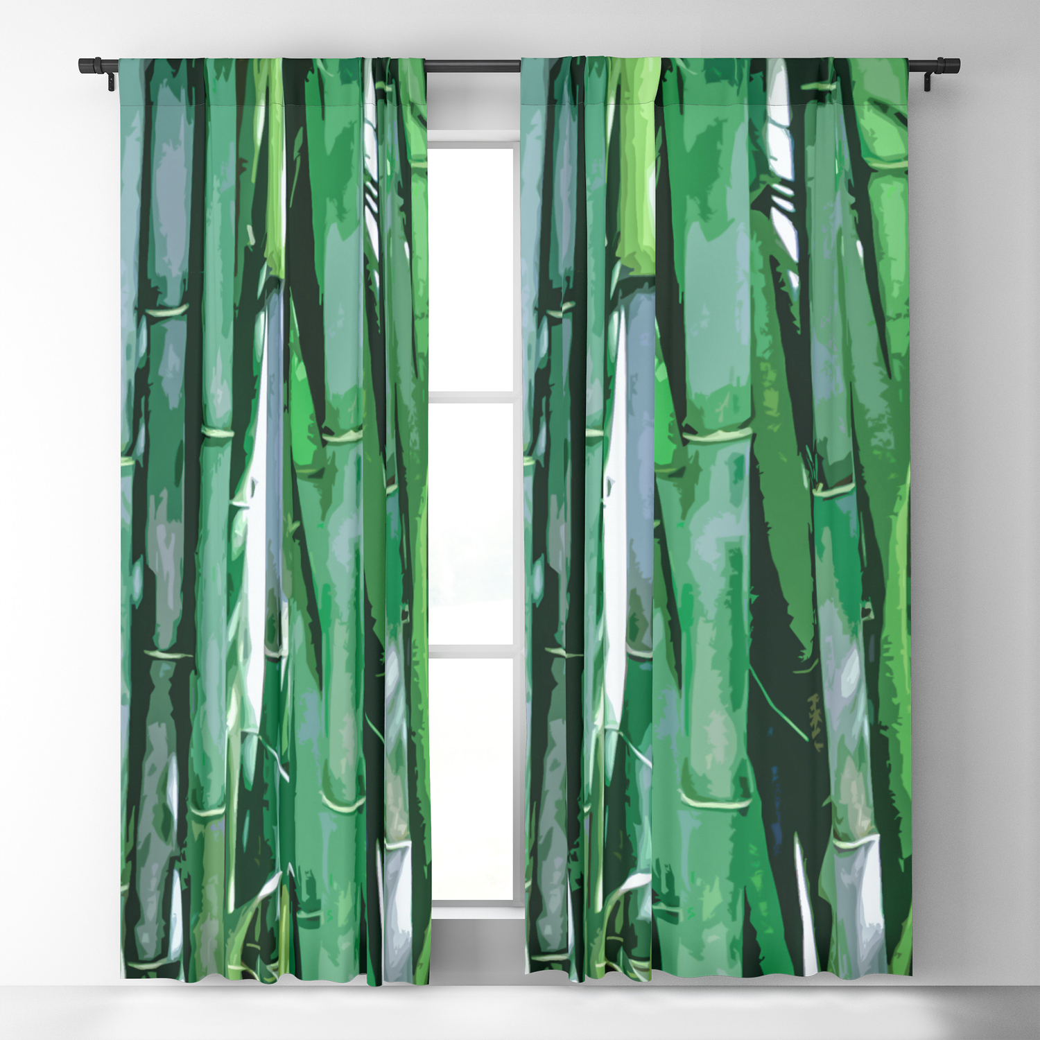 Emerald Bamboo Trees Blackout Curtain By Hommie Society6