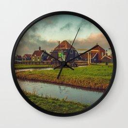 Zaanse schans windmills Wall Clock