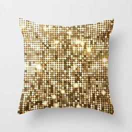 Golden Metallic Glitter Sequins Throw Pillow
