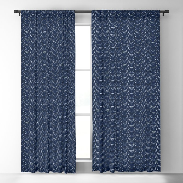Japanese Blue Wave Seigaiha Indigo Super Moon Pattern Blackout Curtain