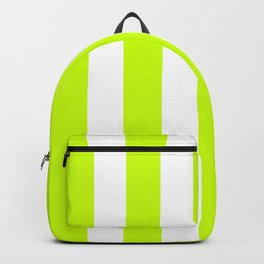 Fluorescent yellow - solid color - white vertical lines pattern Backpack
