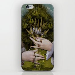 """The hands of Bosch and the Spring"" iPhone Skin"