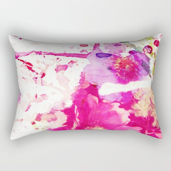 flower and splash in pink Rectangular Pillow