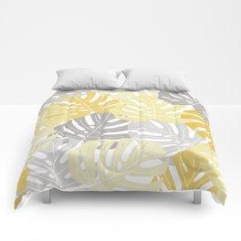 Yellow monstera deliciosa leaves Comforters