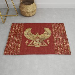 Eye of Horus - Wadjet Gold on Red Leather Rug