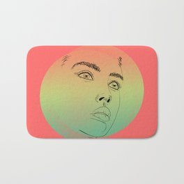 beautiful digital sketch of a lovely female face against pastel colors Bath Mat