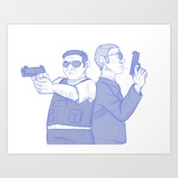 hot fuzz Art Prints featuring hot fuzz by Marie Mikolay