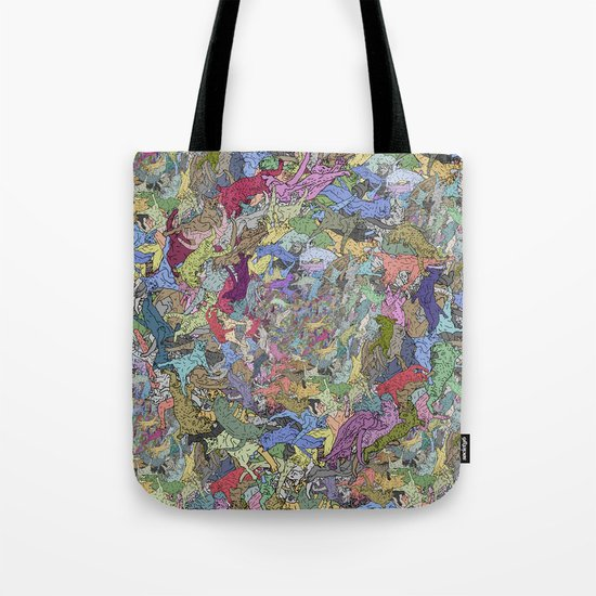 Colorful Flying Cats Tote Bag