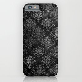 Elegant Grunge Black Damask iPhone Case