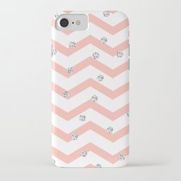 Geometrical coral white silver glitter polka dots iPhone Case